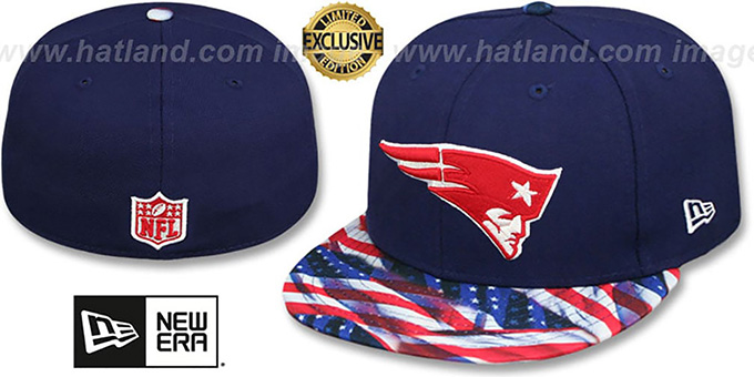 Patriots 'USA WAVING-FLAG' Navy Fitted Hat by New Era : pictured without stickers that these products are shipped with