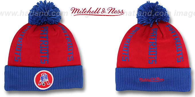 Patriots 'VERTICAL WORD BEANIE' Red-Royal by Mitchell and Ness : pictured without stickers that these products are shipped with