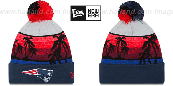 Patriots 'WINTER BEACHIN' Knit Beanie Hat by New Era : pictured without stickers that these products are shipped with