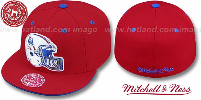 Patriots 'XL-HELMET' Red Fitted Hat by Mitchell & Ness : pictured without stickers that these products are shipped with
