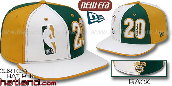 Payton 'DOUBLE WHAMMY' White-Green-Gold Fitted Hat : pictured without stickers that these products are shipped with
