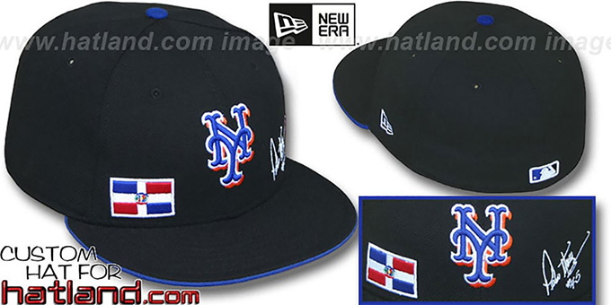 Pedro 'TRIPLE THREAT' Black Fitted Hat by New Era : pictured without stickers that these products are shipped with