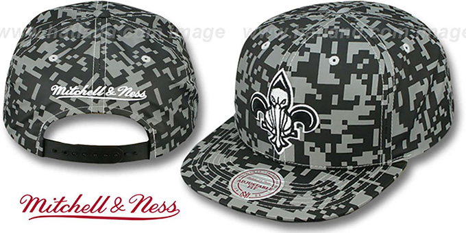 Pelicans '3M DIGI-CAMO SNAPBACK' Black-Grey Hat by Mitchell and Ness : pictured without stickers that these products are shipped with