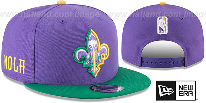 Pelicans 'CITY-SERIES SNAPBACK' Purple-Green Hat by New Era : pictured without stickers that these products are shipped with