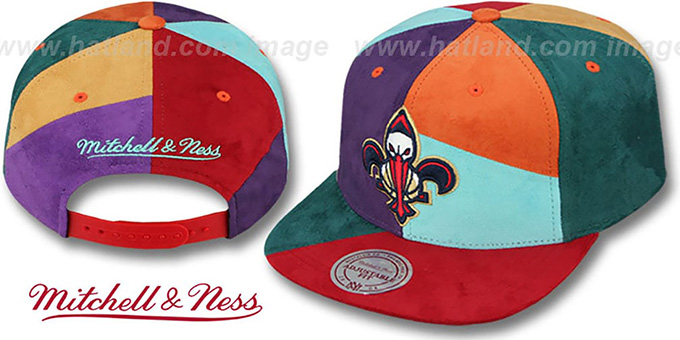 Pelicans 'CUT-N-SEW PATCHES SNAPBACK' Multi Hat by Mitchell and Ness : pictured without stickers that these products are shipped with