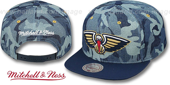 Pelicans 'DENIM-CAMO SNAPBACK' Blue Hat by Mitchell and Ness : pictured without stickers that these products are shipped with