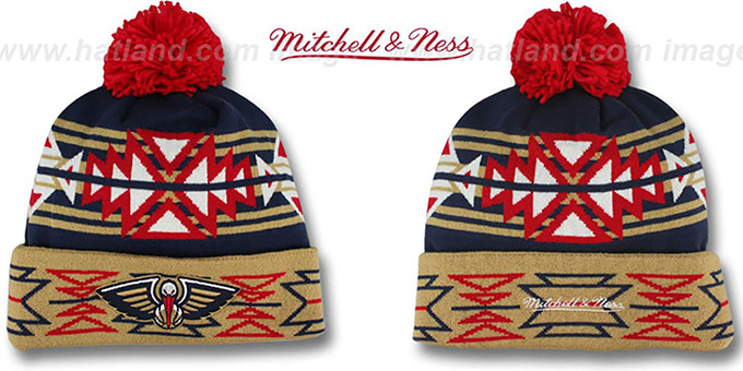 Pelicans 'GEOTECH' Knit Beanie by Mitchell and Ness : pictured without stickers that these products are shipped with