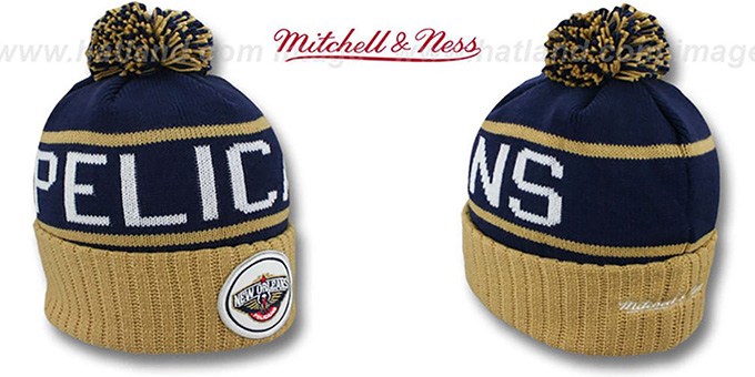 Pelicans 'HIGH-5 CIRCLE BEANIE' Navy-Gold by Mitchell and Ness : pictured without stickers that these products are shipped with