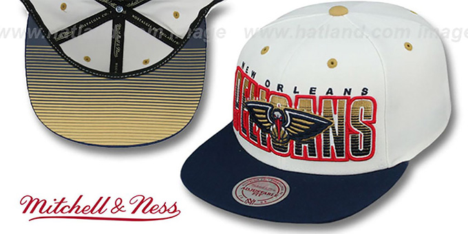 Pelicans 'HOMESTAND SNAPBACK' White-Navy Hat by Mitchell & Ness : pictured without stickers that these products are shipped with