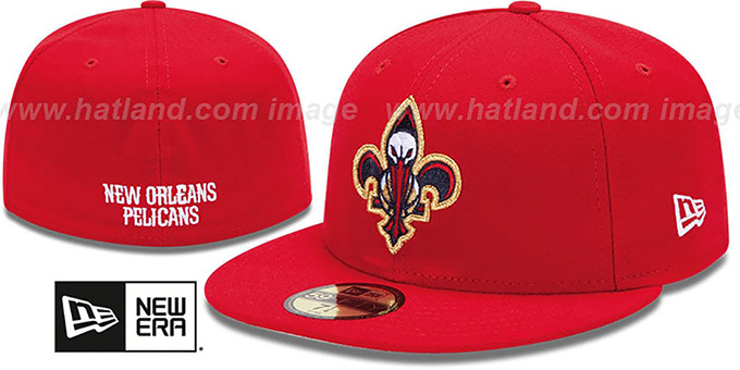 Pelicans 'INAUGURAL FLEUR-DE-LIS' Red Fitted Hat by New Era : pictured without stickers that these products are shipped with
