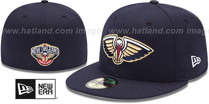 Pelicans 'PRIMARY TEAM-BASIC' Navy Hat by New Era : pictured without stickers that these products are shipped with