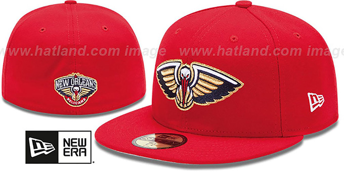 Pelicans 'PRIMARY TEAM-BASIC' Red Hat by New Era : pictured without stickers that these products are shipped with