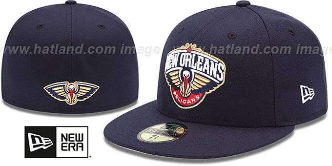 Pelicans 'SECONDARY TEAM-BASIC' Navy Hat by New Era : pictured without stickers that these products are shipped with