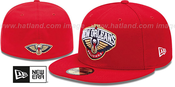 Pelicans 'SECONDARY TEAM-BASIC' Red Hat by New Era : pictured without stickers that these products are shipped with