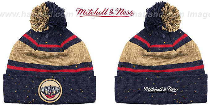 Pelicans 'SPECKLED' Navy-Gold Knit Beanie by Mitchell and Ness : pictured without stickers that these products are shipped with
