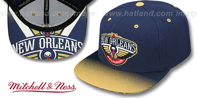 Pelicans 'STOP-ON-A-DIME SNAPBACK' Navy-Gold Hat by Mitchell and Ness : pictured without stickers that these products are shipped with