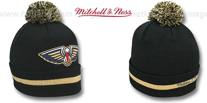 Pelicans 'XL-LOGO BEANIE' Black by Mitchell and Ness : pictured without stickers that these products are shipped with