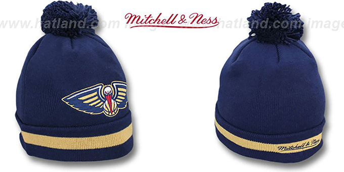 Pelicans 'XL-LOGO BEANIE' Navy by Mitchell and Ness : pictured without stickers that these products are shipped with