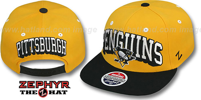 Penguins '2T BLOCKBUSTER SNAPBACK' Gold-Black Hat by Zephyr : pictured without stickers that these products are shipped with