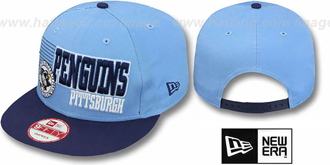 Penguins '2T BORDERLINE SNAPBACK' Sky-Navy Hat by New Era : pictured without stickers that these products are shipped with