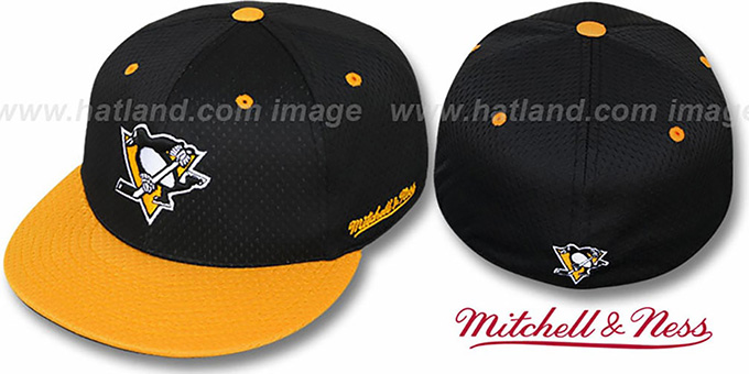 Penguins '2T BP-MESH' Black-Gold Fitted Hat by Mitchell and Ness : pictured without stickers that these products are shipped with