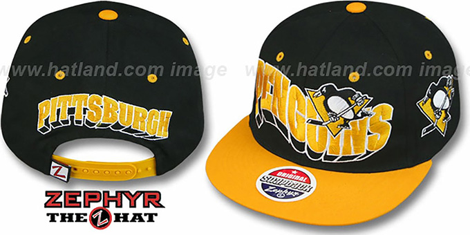 Penguins '2T FLASHBACK SNAPBACK' Black-Gold Hat by Zephyr : pictured without stickers that these products are shipped with