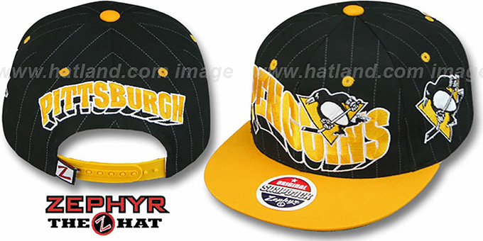 Penguins '2T PINSTRIPE FLASHBACK SNAPBACK' Black-Gold Hat by Zephyr : pictured without stickers that these products are shipped with