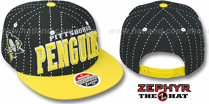 Penguins '2T PINSTRIPE SUPER-ARCH SNAPBACK' Black-Gold Hat by Zephyr : pictured without stickers that these products are shipped with