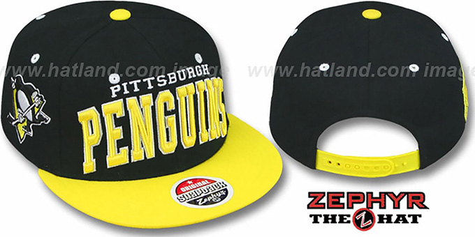 Penguins '2T SUPER-ARCH SNAPBACK' Black-Gold Hat by Zephyr : pictured without stickers that these products are shipped with