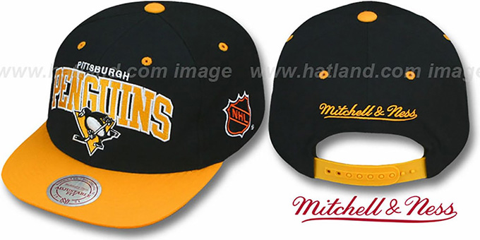Penguins '2T TEAM ARCH SNAPBACK' Adjustable Hat by Mitchell and Ness : pictured without stickers that these products are shipped with
