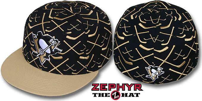 Penguins '2T TOP-SHELF' Black-Old Gold Fitted Hat by Zephyr : pictured without stickers that these products are shipped with