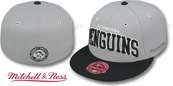 Penguins '2T XL-WORDMARK' Grey-Black Fitted Hat by Mitchell & Ness : pictured without stickers that these products are shipped with