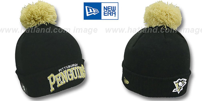 Penguins 'ARCHED-RIBBED' Black Knit Beanie Hat by New Era : pictured without stickers that these products are shipped with