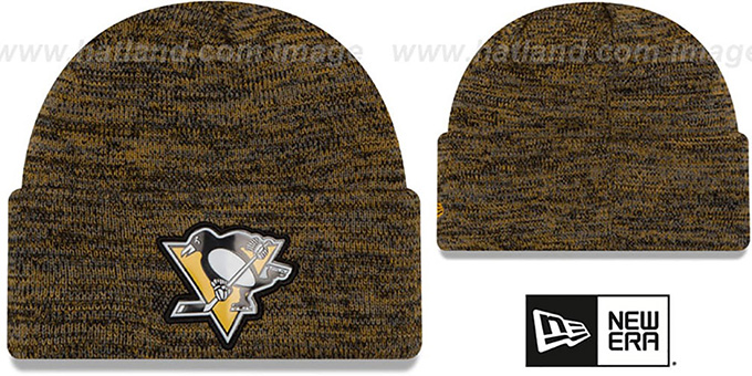 Penguins 'BEVEL' Gold-Black Knit Beanie Hat by New Era : pictured without stickers that these products are shipped with