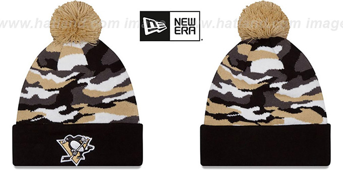 Penguins 'CAMO CAPTIVATE' Knit Beanie Hat by New Era : pictured without stickers that these products are shipped with