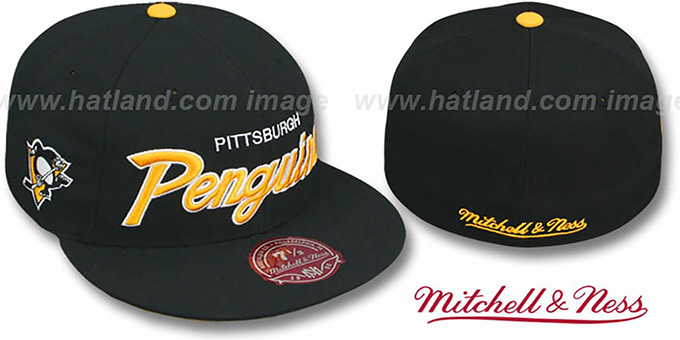 Penguins 'CLASSIC-SCRIPT' Black Fitted Hat by Mitchell & Ness : pictured without stickers that these products are shipped with