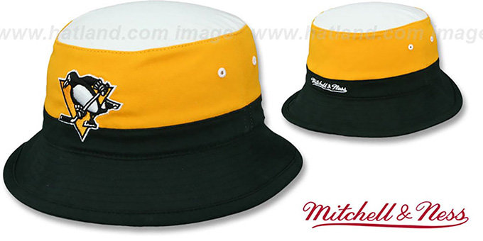Penguins 'COLOR-BLOCK BUCKET' White-Gold-Black Hat by Mitchell and Ness : pictured without stickers that these products are shipped with