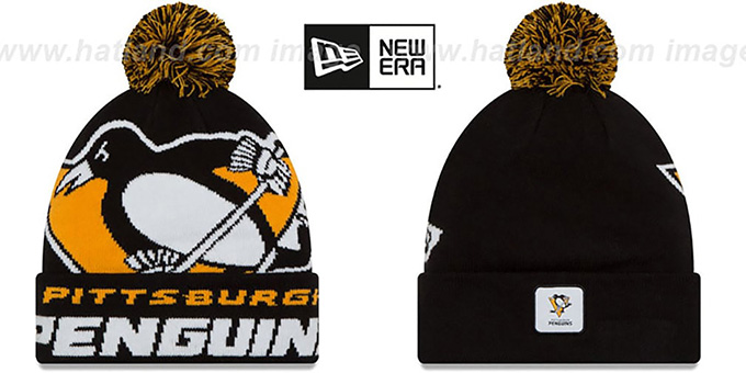 Penguins 'COLOSSAL-TEAM' Black Knit Beanie Hat by New Era : pictured without stickers that these products are shipped with