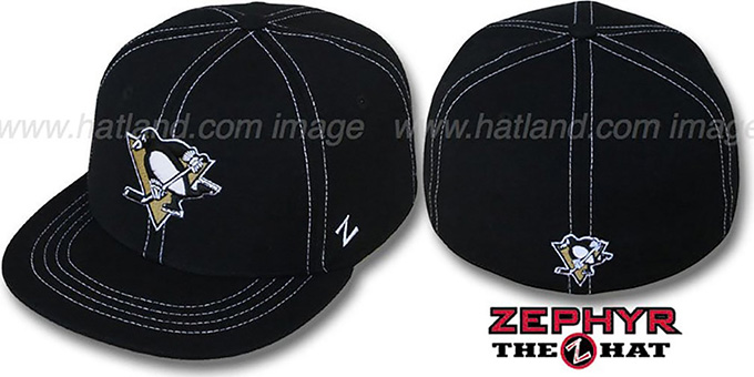 Penguins 'CONTRAST THREAT' Black Fitted Hat by Zephyr : pictured without stickers that these products are shipped with