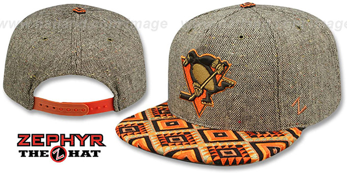 Penguins 'DREAM CATCHER SNAPBACK' Hat by Zephyr : pictured without stickers that these products are shipped with