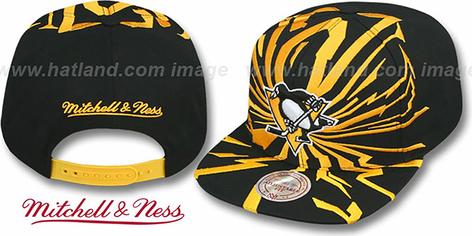 Penguins  EARTHQUAKE SNAPBACK  Black Hat by Mitchell and Ness ee2ce2e50c20