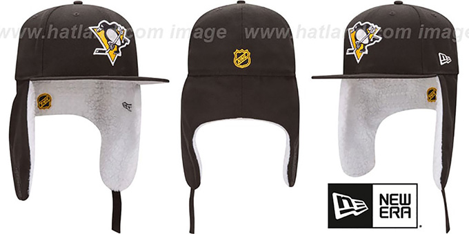 Penguins 'FLURRY-FIT DOGEAR' Black Fitted Hat by New Era : pictured without stickers that these products are shipped with