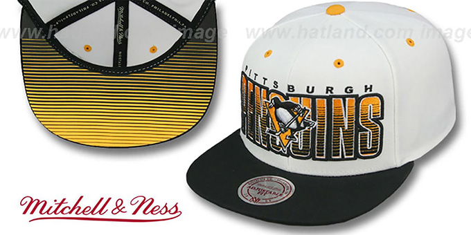 Penguins 'HOMESTAND SNAPBACK' White-Black Hat by Mitchell & Ness : pictured without stickers that these products are shipped with