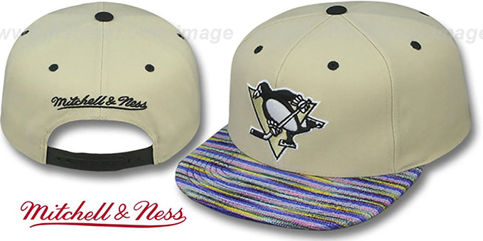 Penguins 'KNIT-WEAVE SNAPBACK' Cream-Multi Hat by Mitchell and Ness : pictured without stickers that these products are shipped with