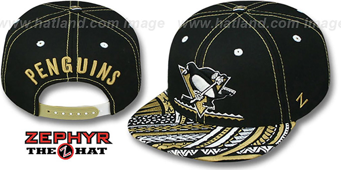Penguins 'KONA SNAPBACK' Hat by Zephyr : pictured without stickers that these products are shipped with