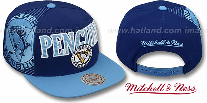 Penguins 'LASER-STITCH SNAPBACK' Navy-Sky Hat by Mitchell & Ness : pictured without stickers that these products are shipped with