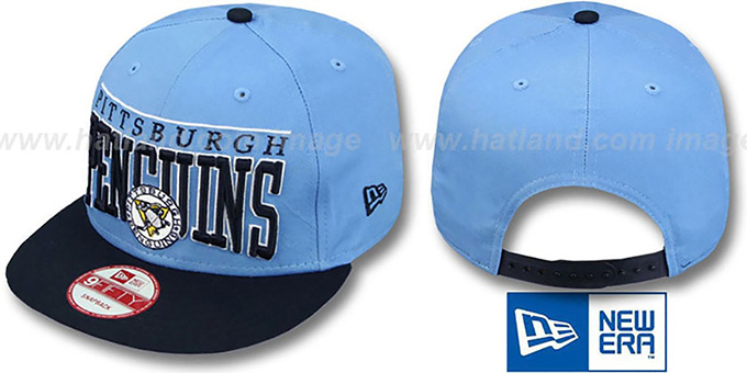 Penguins 'LE-ARCH SNAPBACK' Sky-Navy Hat by New Era : pictured without stickers that these products are shipped with