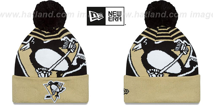 Penguins 'LOGO WHIZ' Black-Gold Knit Beanie Hat by New Era : pictured without stickers that these products are shipped with