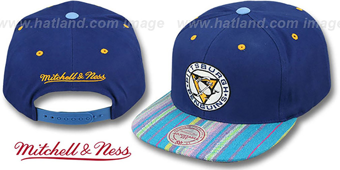 Penguins 'NATIVE-STRIPE SNAPBACK' Navy Hat by Mitchell & Ness : pictured without stickers that these products are shipped with