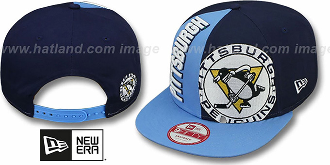 Penguins 'NE-NC DOUBLE COVERAGE SNAPBACK' Hat by New Era : pictured without stickers that these products are shipped with